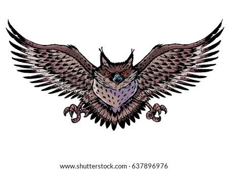 owl wings spread stock vector 637896976 - shutterstock