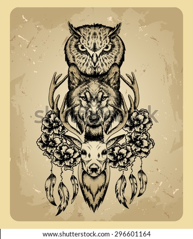 owl, wolf and deer in the style of tattoo - stock vector