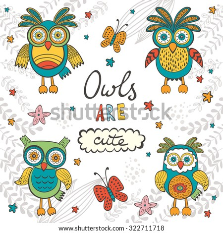 Owls are cute. Colorful card with owls characters and hand lettering. Vector illustration - stock vector