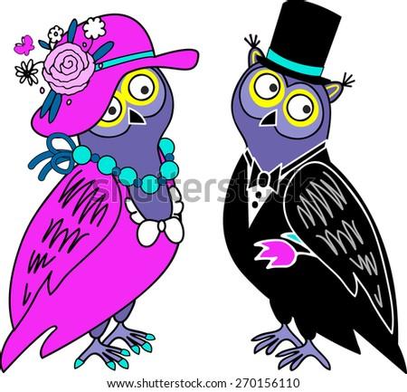 Owls couple in love. - stock vector