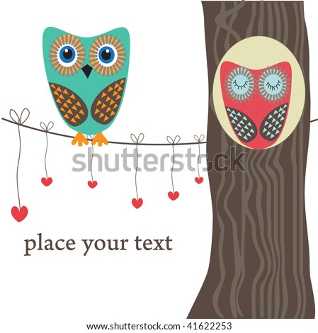 Owls couple in love on the tree. Vector - stock vector