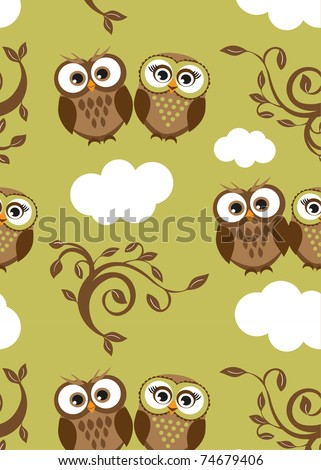 Owls couple on the clouds. Seamless pattern - stock vector