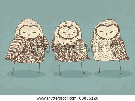 owls illustration/vector - stock vector