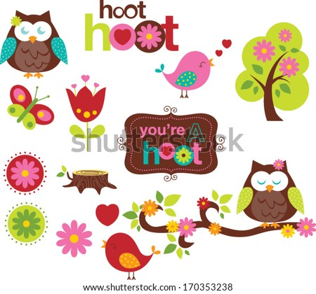 Owls in Spring - stock vector