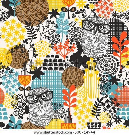 Owls on the field seamless pattern. Vector endless background.