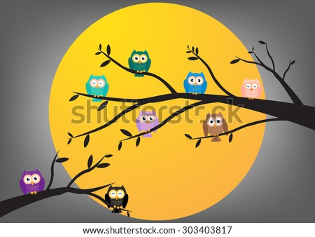 Owls on tree at midnight with full moon background. Vector illustration