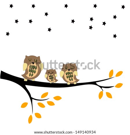 Owls sitting on branches - stock vector