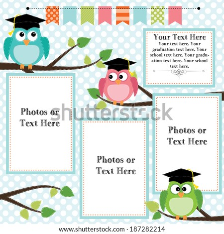 Owls wearing graduation caps with banner or bunting for text, layout for photos, text or scrapbooking, vector format - stock vector