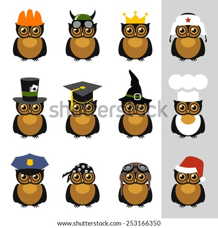 Owls with hat, helmet, cap, bandanna and crown - stock vector