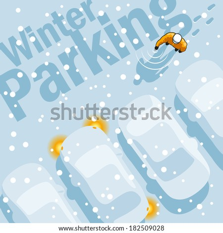Owner is looking for your car in the parking lot during a heavy snowfall. - stock vector