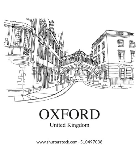 "OXFORD, UK: Hertford Bridge, often called ""the Bridge of Sighs"". Hand drawn sketch"