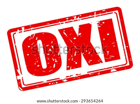 OXI red stamp text on white (NO in Greek) - stock vector
