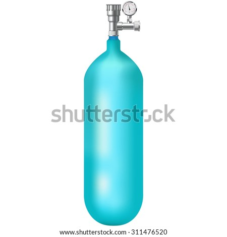 Oxygen cylinder and Manometer. Vector isolated on white background - stock vector