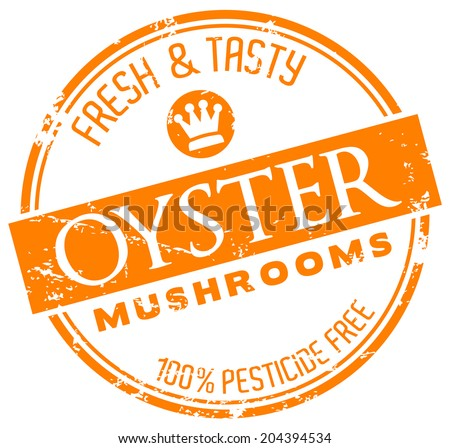 oyster mushrooms stamp - stock vector