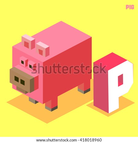 P for pig. Animal Alphabet collection. vector illustration - stock vector