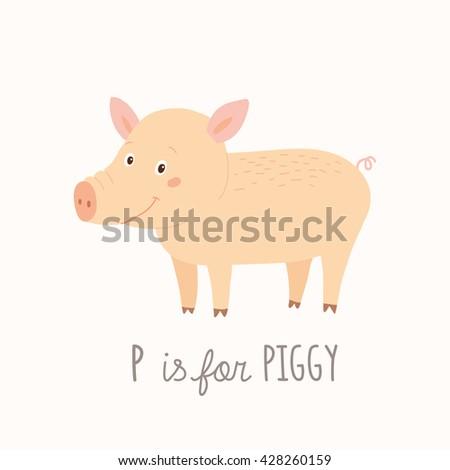 P Pig ABC Kids Wall Art Stock Vector 428260159 - Shutterstock
