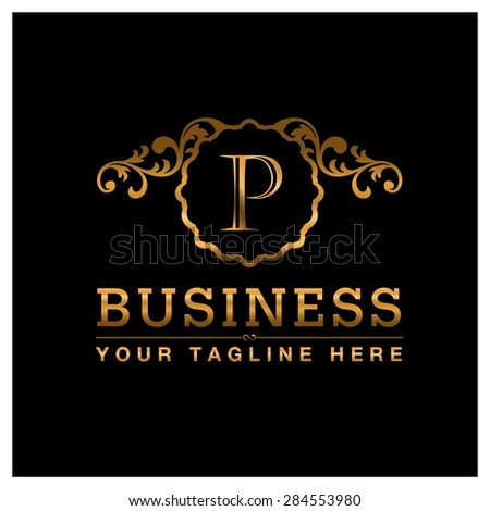 P letter Gold Luxury Logo template flourishes calligraphic elegant ornament lines. Business sign identity for Restaurant, Royalty, Cafe, Hotel, Heraldic, Jewelry, Fashion and other vector illustration