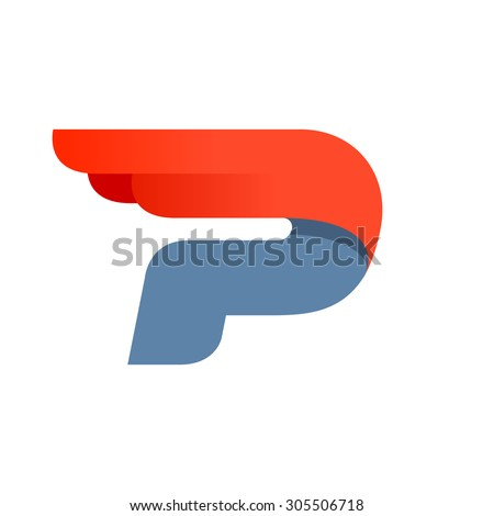 P letter logo design template. Second version. Fast speed vector unusual letter. Vector design template elements for your application or company. - stock vector