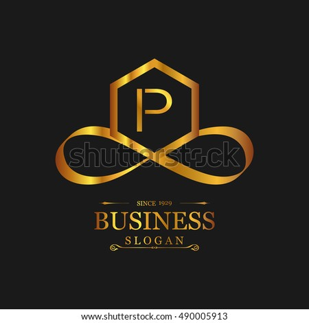 P Letter Logo Gold Emblem Line Art Design Beautiful Boutique Designs