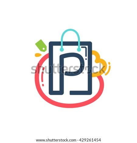 P letter with shopping bag and tag icon. Vector design element for tag, card, corporate identity, label or poster. - stock vector