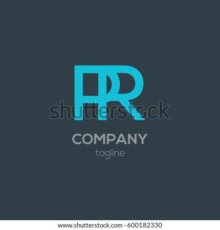 P   R Letter logo design vector element. Stylish Typographic Logo Template Letter R Stock Vector 232902952