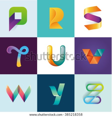 P R S T U V W Y Z letters set of logo idea template - stock vector