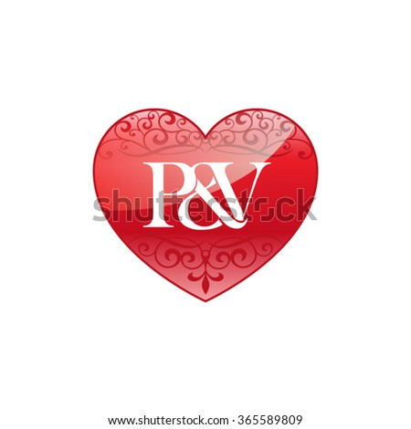 PV Initial Letter Logo With Ornament Heart Shape