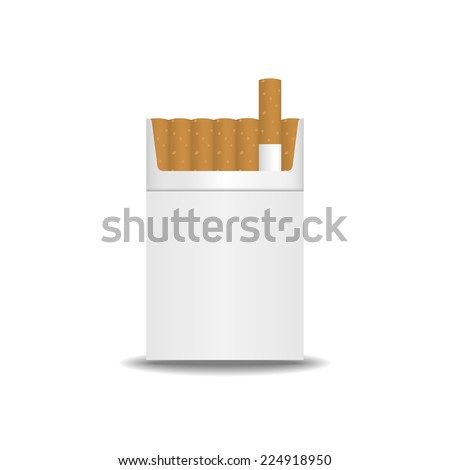 Pack of cigarettes with cigarettes sticking out  - stock vector
