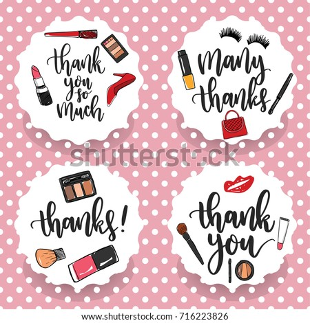 Pack of four make up thank you stickers thank you labels thank you