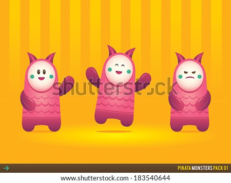 Pack of friendly bright pinata monster toy illustrations, suitable for various purposes such as kids party invitations, school poster designs, creative studio website icons, game characters, etc. - stock vector
