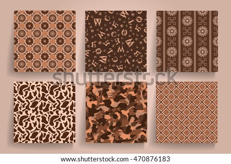 Pack of 6 in 1 vintage brown seamless abstract backgrounds. Use for posters, cards, covers, placards, flyers and banner designs. Vector illustration