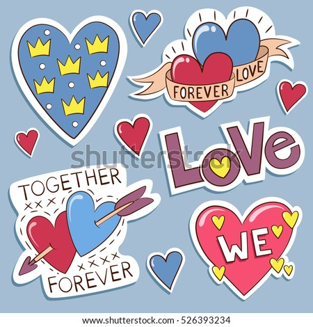 Pack of love stickers with hearts. Hand drawn hearts and words in doodle style. Love concept. Freehand drawing. Valentines day decoration elements.