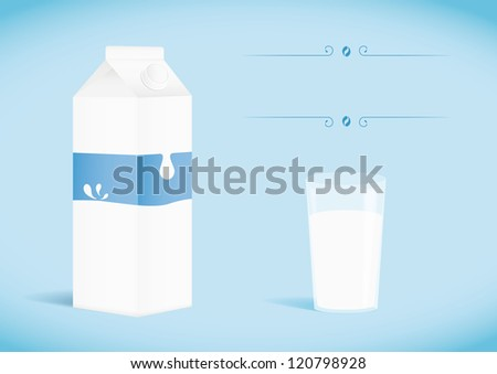 Pack of milk with glass. Vector illustration - stock vector