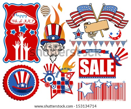 pack of various happy 4th of july vectors