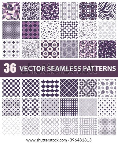 Pack of 36 violet vector seamless patterns: abstract, vintage, technology and geometric. Vector illustration