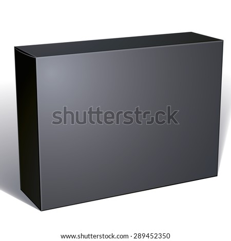 Package black box design isolated on white background, template for your package design, put your image over the box, vector illustration eps 8.