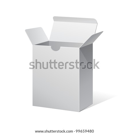 Package Box Opened White Blank - stock vector