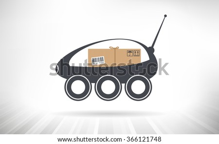 Package Delivery Robot. Concept illustration of a self-driving delivery robots carrying a package. - stock vector