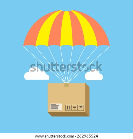 Package flying on parachute, delivery service concept. Flat design stylish. Isolated on color background - stock vector