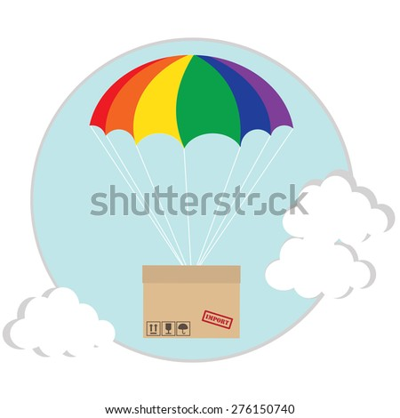 Package flying with colored parachute in the sky with clouds. Delivery service. Air shipping concept - stock vector