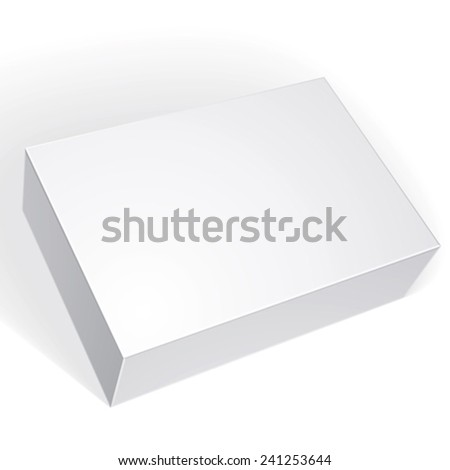 Package white box design isolated on white background, template for your package design,  vector illustration.