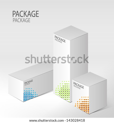 Package white box design 2, vector illustration - stock vector