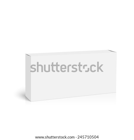 Package white box with shadow and reflection on a white background. vector - stock vector