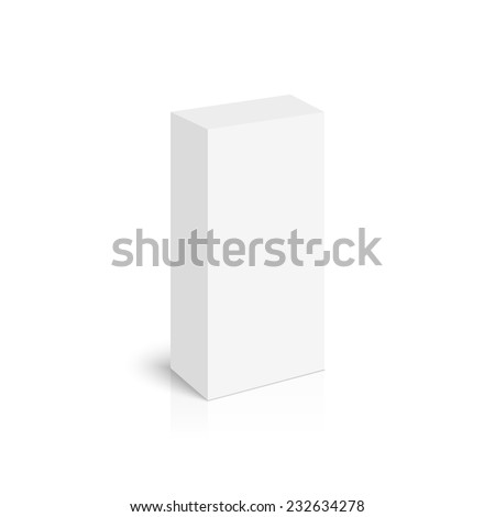 Package white box with shadow and reflection on a white background. vector. Realistic 3d blank for perfume, Software, electronic device, tea box and other products.  - stock vector