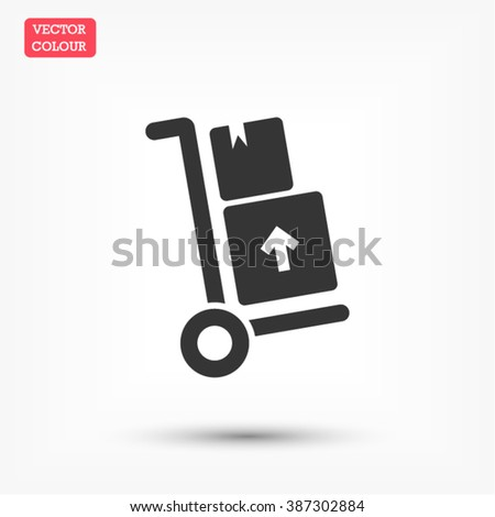 Packages delivery trolley vector icon - stock vector