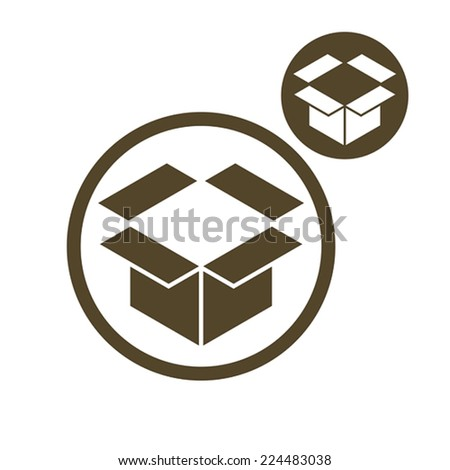 Packaging box vector simple single color icon isolated on white background, includes invert version for you to choose. - stock vector
