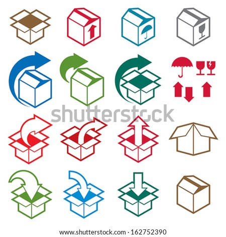 Packaging boxes icons isolated on white background vector set, pack simplistic symbols vector collections. - stock vector