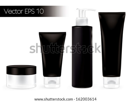 Packaging containers black color, package cream, Beauty products set. Vector  - stock vector