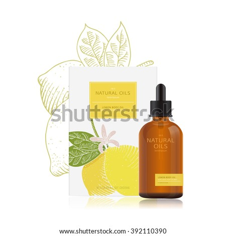 Packaging design of natural oils with lemon. Vector mockup for a bottle of essential oil and box. Illustration in woodcut style. Easy edit.  - stock vector