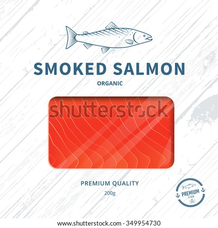 Packaging design template for smoked salmon. Fish package. Vector - stock vector
